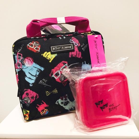 Betsey Johnson Handbags - Betsey Johnson Black Dog Print Lunch Bag
